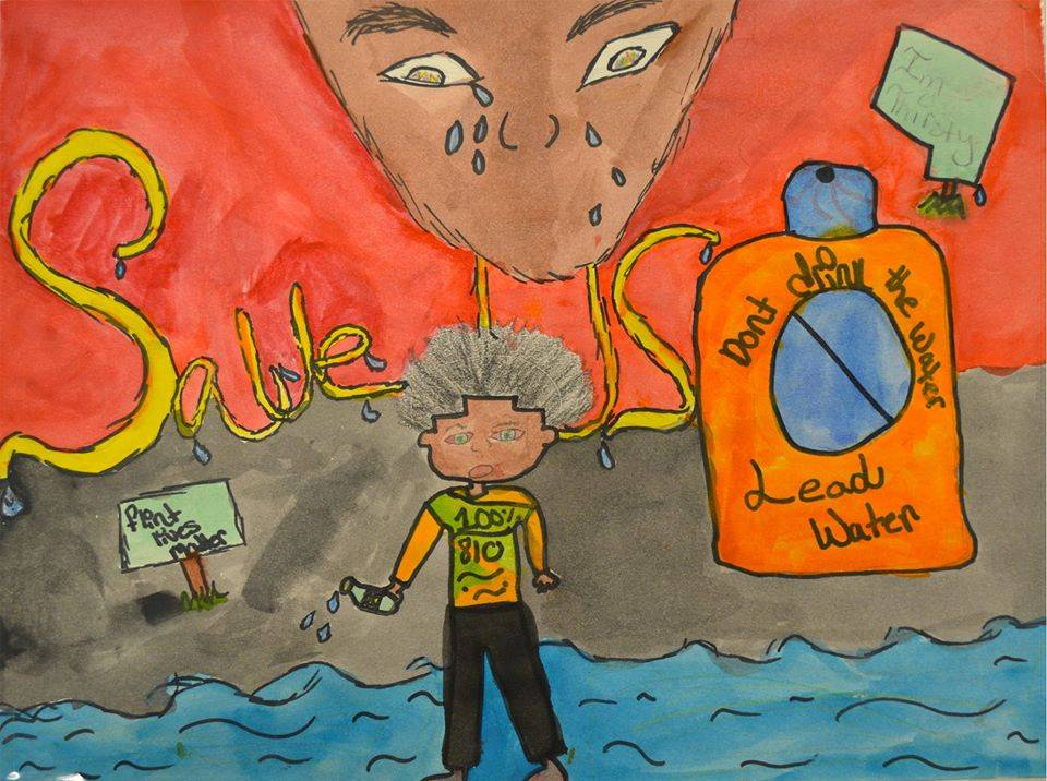 Drawing created by 8th grader, Keiori L., at Linden Charter School in Flint, Michigan in response to the Flint water crisis.